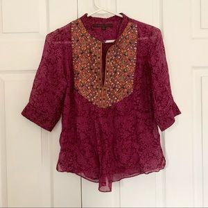 Anthropologie A Common Thread Pink Silk Blouse